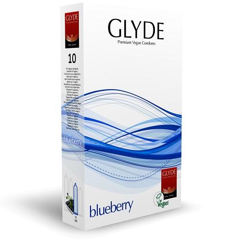 Glyde Ultra Blueberry Flavour Vegan Condoms 10 Pack