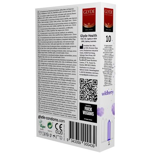 Glyde Ultra Wildberry Flavour Vegan Condoms 10 Pack