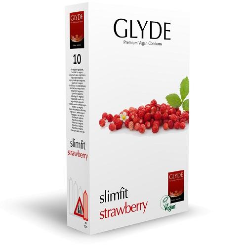 Glyde Ultra Slimfit Strawberry Flavour Vegan Condoms 10 Pack