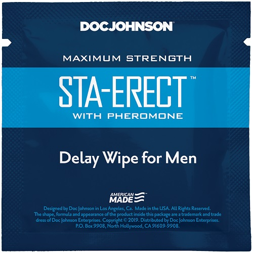 Doc Johnson Sta-Erect with Pheromone Delay Wipe For Men