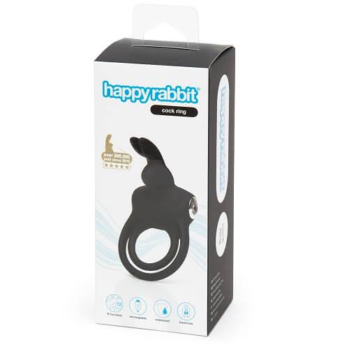 Happy Rabbit Couples Stimulating USB Rechargeable Rabbit Love Ring Black