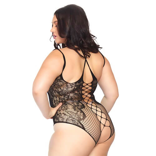 Leg Avenue Plus Size Net and Lace Crotchless Body