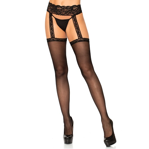 Leg Avenue Sheer Thigh High Stockings with attached Lace Garterbelt