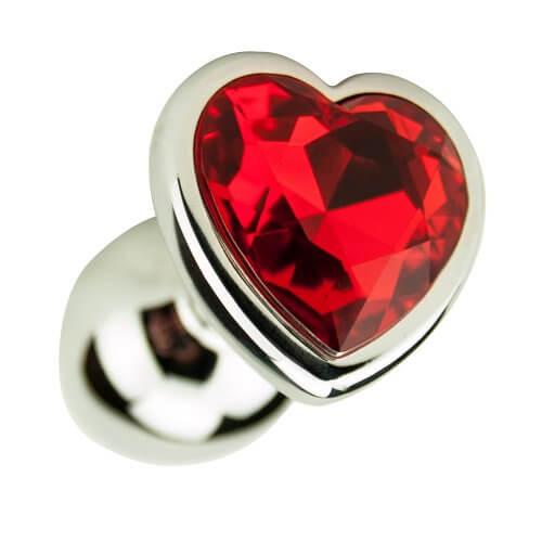 Precious Metals Heart Shaped Butt Plug-Silver