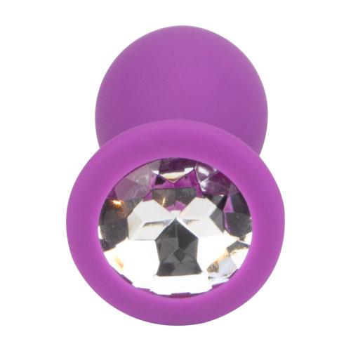 Loving Joy Jewelled Silicone Butt Plug Purple - Medium