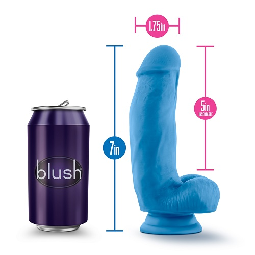 7 inch Realistic Silicone Dual Density Girthy Dildo with Suction Cup and Balls Blue
